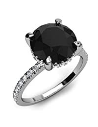 2.65Cts Round Black and White Accents Diamond Created in 14K White Gold Engagement Ring