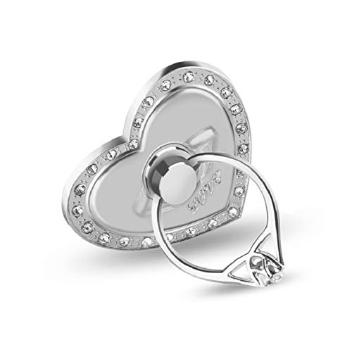 Creative Heart Shape Finger Ring Phone Holder Stand with Rhinestone Universal Mobile Phone Finger Ring Stent Support Bracket (Creative Stand)