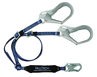 FallTech 826073ADJ ViewPack, Web SAL - Adjustable Y-Leg for 100% Tie-Off with 1 Snap Hook and 2 Rebar Hooks, 4 1/2' to 6', Black
