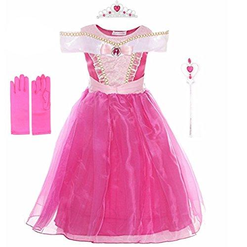 Rauoawby Baby Girl Beauty Princess Costume Dress for Girls Dress up Christmas Halloween Gift (110/3T, Hot (Halloween Costume 3t)