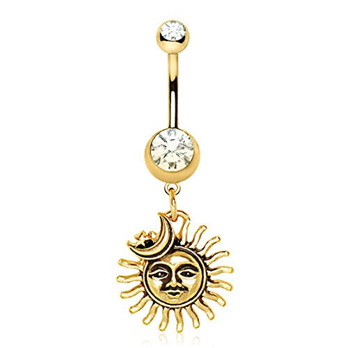 Gold Plated Sun Moon Star WildKlass Dangle Navel Ring