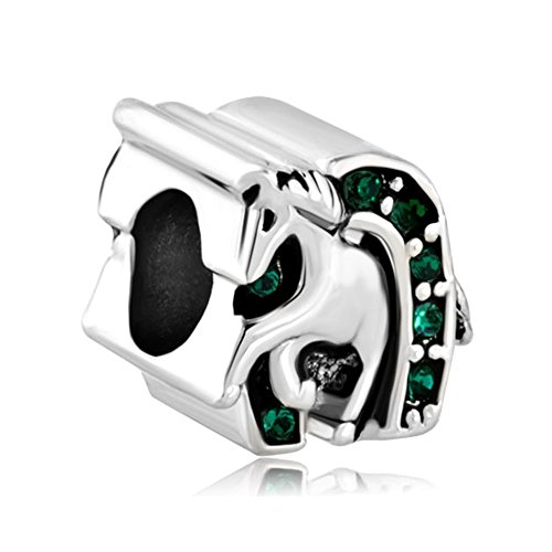 - LovelyJewelry Lucky Charm Horse Horseshoe Animal Lucky Charm Emerald Green Crystal Equestrian Bead s
