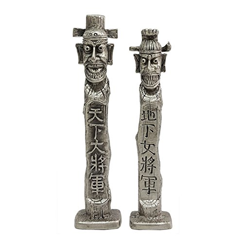 BKP Couple of Jangseung Large Size Pewter Collectible Figurines Korean Folk Guardian Symbol