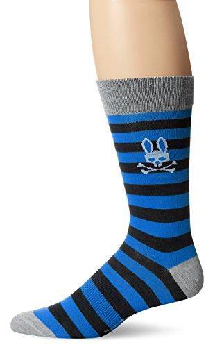 Psycho Bunny Men's Bold Stripe Crew Sock, Slate, One Size