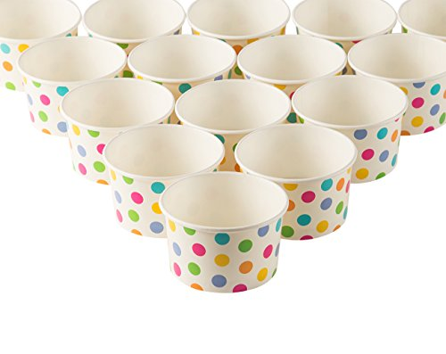 Ice Cream Sundae Cups - 50-Piece Disposable Paper Dessert Ice Cream Yogurt Bowls Party Supplies, Rainbow Polka Dots, 8-Ounce