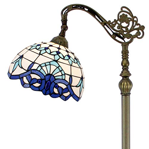 Tiffany Style Reading Floor Lamp Stained Glass White Blue Baroque Lampshade in 64 Inch Tall Antique Arched Base for Girlfriend Bedroom Living Room Lighting Table Set S003B WERFACTORY - Opaque White Glass Shades