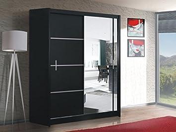 Puerta corredera de gran armario con espejo 180 cm, ancho VISTA negro por DAKO: Amazon.es: Hogar