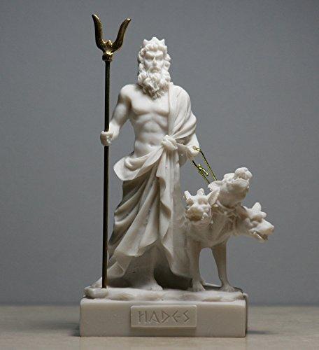 Hades Pluto Greek God of Underworld & Cerberus Alabaster Statue Figurine 5.1΄΄ (White) (White Statue Alabaster)