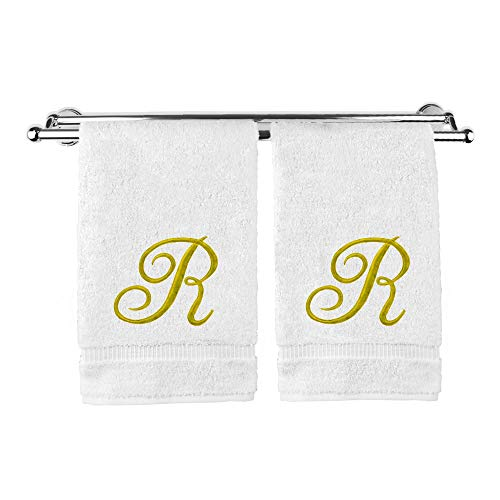 (Monogrammed Hand Towel, Personalized Gift, 16 x 30 Inches - Set of 2 - Gold Embroidered Towel - Extra Absorbent 100% Turkish Cotton- Soft Terry Finish - for Bathroom, Kitchen and Spa- Script R White)