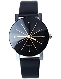Women watch,SMTSMT Women's Quartz Dial Leather Wrist Watch Round Case-Black