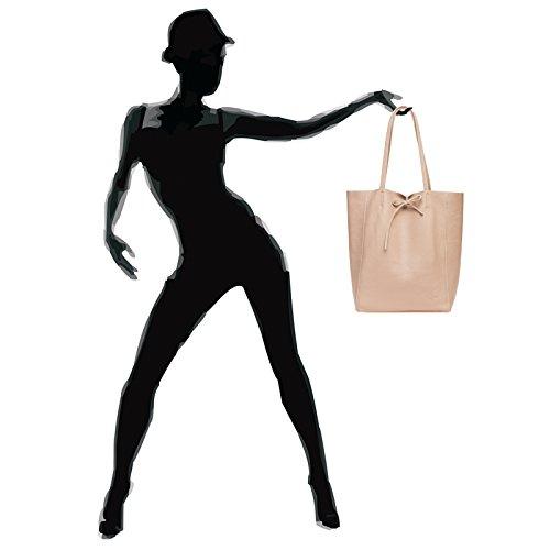 Donna Pelle In Caspar Tl780 Rosa Shopper Borsa qT0UnCwfz