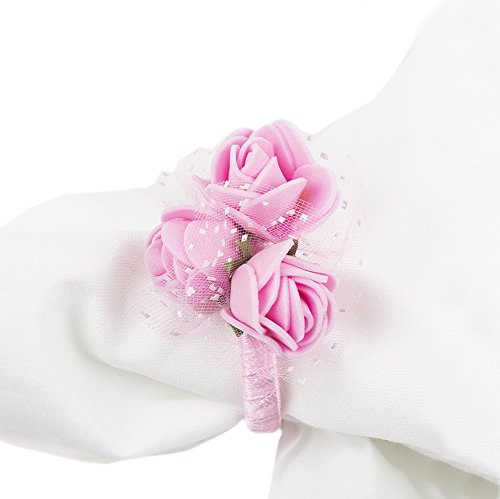 Fennco Styles Handmade Lovely Pink Rose Napkin Ring-Set of 4 (Pink) ()