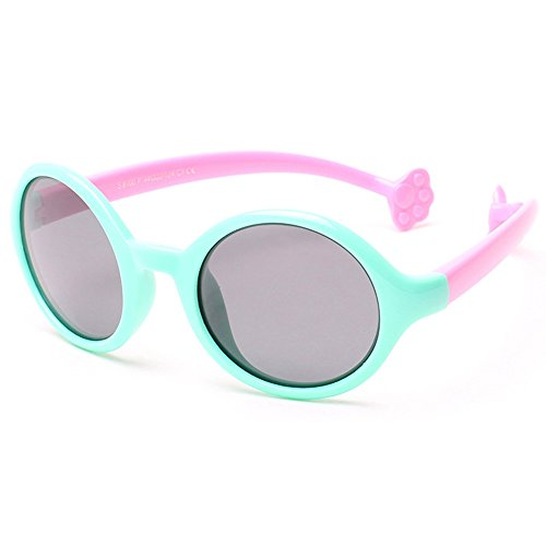 TIJN Kids Super Flex Rubber Polarized Round Safety Sunglasses for Girls - Sunglasses Flex