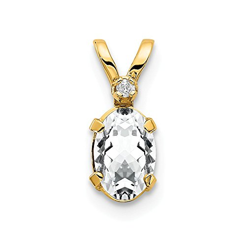 - 14k Yellow Gold Diamond White Topaz Birthstone Pendant Charm Necklace April Oval Fine Jewelry Gifts For Women For Her