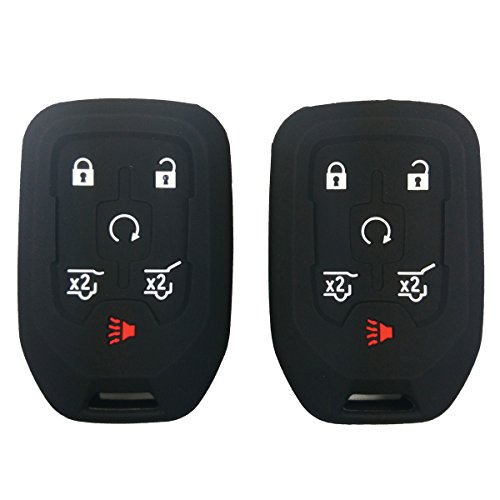 2Pcs Coolbestda Silicone Smart Key Fob Cover Case Remote Skin Keyless Jacket Holder Protector for 2015 2016 Chevrolet Suburban Tahoe GMC Yukon 6 Buttons Black