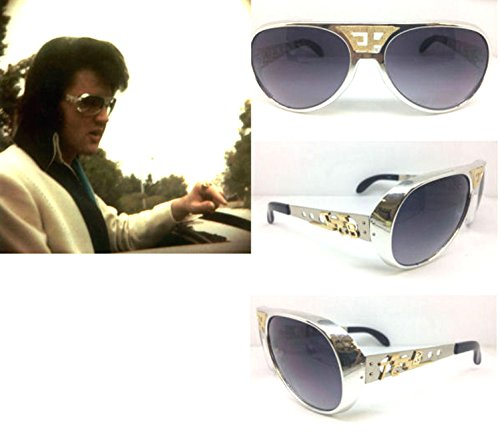 ELVIS SUNGLASSES SILVER SMOKE ORIGINAL GOLD EP TCB GRAND PRIX - Elvis Sunglasses Tcb