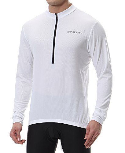 Spotti Mens Long Sleeve Cycling Jersey, Bike Biking Shirt- Breathable and Quick Dry (Chest 46-48 - 3XL,White)