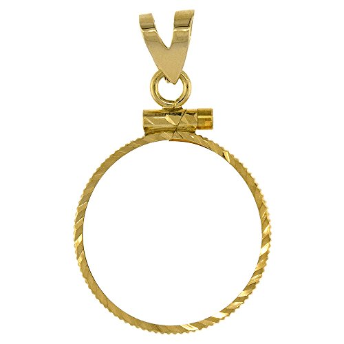 14k Gold 1/10 Gold Panda Bezel Diamond Cut 18mm coin Screw Top by Sabrina Silver (Image #1)