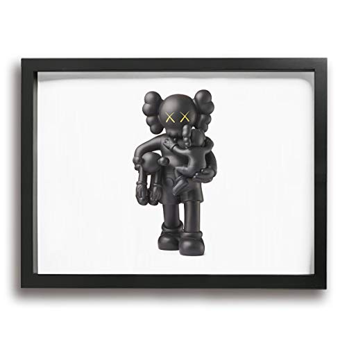 HAINANBOY KAWS Clean Slate Vinyl Figure Black Wall Art Painting Stretched and Framed Canvas Prints Artwork Ready to Hang for Home Living Room Bedroom 16