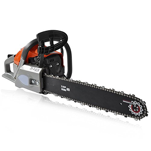 62cc 20inch Chainsaw Blade Petrol Gas Saw, 2 Stroke Handle Chain Saw Rancher Outdoor Garden Yard Use with Tool Kit (62CC) by Cosway