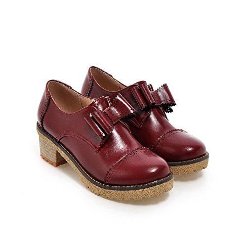 VogueZone009 Damen PU Leder Mittler Absatz Rund Zehe Ziehen auf Pumps Schuhe Rot