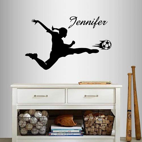 Wall Vinyl Decal Home Decor Art Sticker Silhouette Girl Woman Player Football Soccer Kicking Ball Customized Name Sports Kids Bedroom Room Removable Stylish Mural Unique Design For Any Room Creative Design Logo House ()