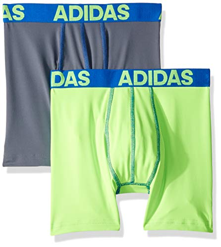 adidas Boys / Youth  Sport Performance Climalite Boxer Brief Underwear (2-Pack), Blue, Small ()