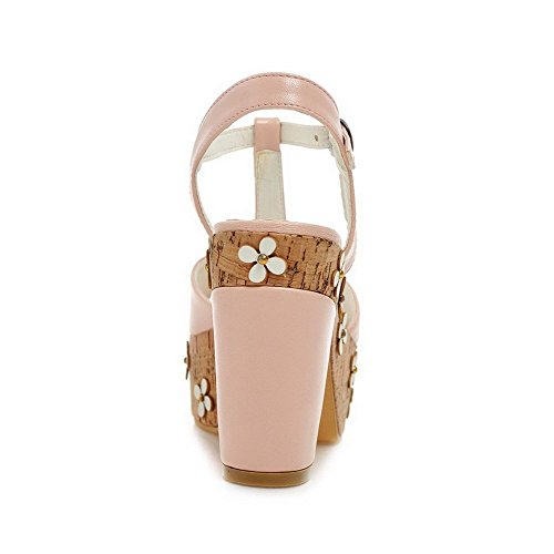 Soft Buckle Pink High Open Toe Material Solid Heels AllhqFashion Women's Sandals WqYagnRUw