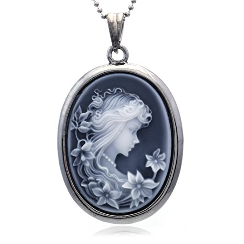- Soulbreezecollection Grey Cameo Pendant Necklace Charm Fashion Jewelry for Women