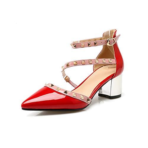 Mujer Otoño Zapatos Tachuelas zapatos De Alto tacón De Sandalias Red Punta 42 con Gran Talla alto de De Femenina Tamaño Pequeña De Tacón con Zapatos Mujer Rojo De Grueso Tacón Yukun RvqHH