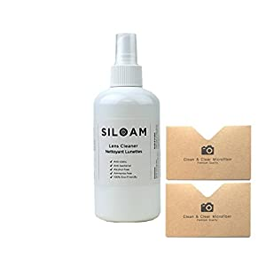 "[8.5 OZ] ""Siloam"" Lens Cleaner Kit - ULTRA PREMIUM QUALITY Lens Cleaner Fluid & 2 Microfiber Cleaning Cloths(Best for Glasses, Screens, and all Lens.)"