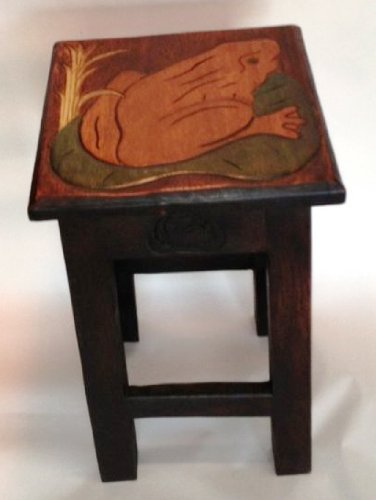 Frog on a Lilypad Hand Carved Wooden Stool/Table