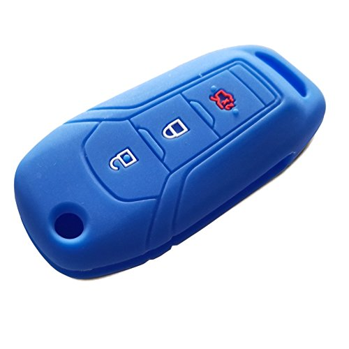 DOBREV 3 Buttons Silicone Case Protector Key Fob Cover Smart Car Remote Holder for 2015 2016 2017 FORD FOCUS 3 MONDEO Escort Kuga EVEREST FIESTA Mustang Edge MKV Fusion F150 2016 Ranger (Blue)