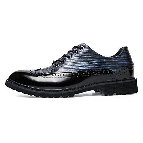 Primavera Antique Business Casual Cricket Autunno British e Point da Brogue Black Scarpe da Colorful Uomo Shoes Blue Oxford UwHqH8I