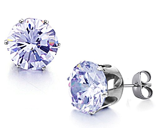 TomSunlight Titanium steel Round Cubic Zirconia Diamond Birthstone - Diamond Titanium Earrings