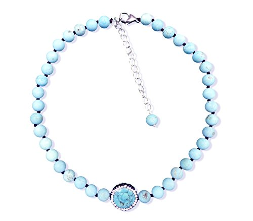 (MGR MY GEMS ROCK! Collar Style Blue Magnesite Turquoise Beaded Strand Necklace,14.5