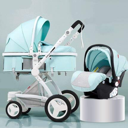 Luxury Baby Stroller Toddler Carriage with PU Basket High-Landscape Easy Carry Pram for Newborns Pushchair Can Sit Can Lie (Green)