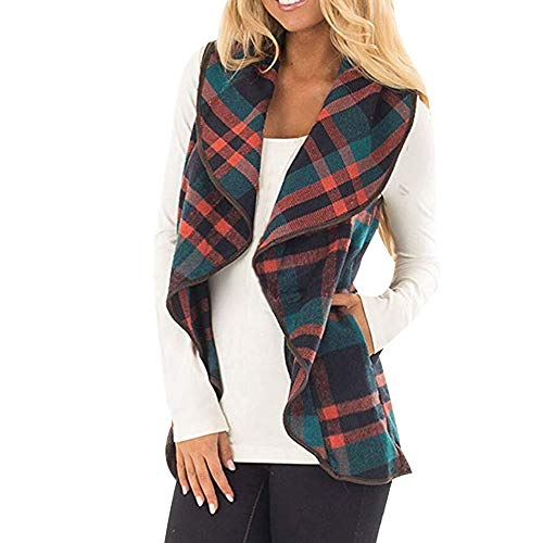 Dressin Womens Sleeveless Open Front Hem Plaid Vest Cardigan Jacket with Pockets Green