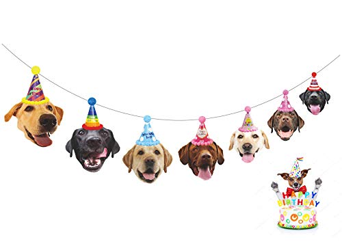 Gyzone Dogs Birthday Garland, Funny Labrador Face Portrait Birthday Banner, Dog Bday Bunting Decorations]()