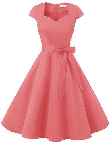 Dressystar DS1955 Women Vintage 1950s Swing Cap Sleeevs Prom Dresses V Neck M Coral