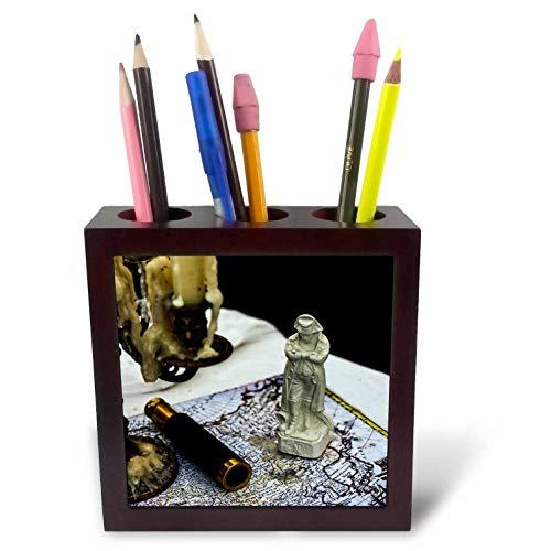 - 3dRose Alexis Photography - Still-Life - Vintage Napoleon Figurine, Spyglass, Candlestick, map. Past glories - 5 inch Tile Pen Holder (ph_304790_1)