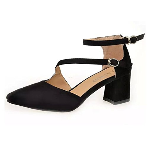 Fashion Block High Heels Simple Sandals Suede Leather Ankle-strap Pointed Toes Sandals Comfortable Shoes All-match black