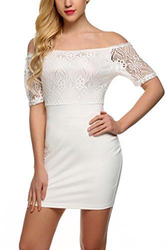 Zeagoo Women Women's Off Shoulder Body Con Lace Mini Dress