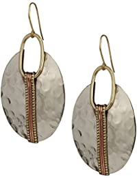 Boho Round Gold & Silver Ethnic Hammered Crescent Earring | SPUNKYsoul Collection