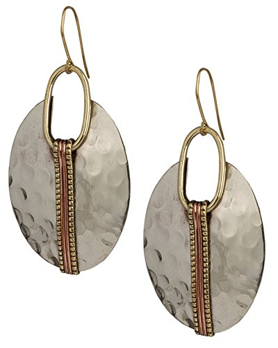 Boho Oval Silver Ethnic Hammered Earring for Women| SPUNKYsoul Collection ()
