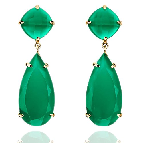 Go Green with Green onyx handmade earring set in gold plated ()
