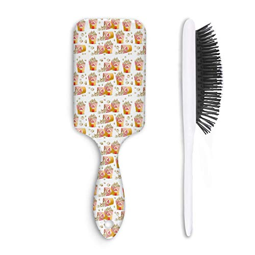 Chal Hoiy Boar Bristle Paddle Hairbrush white ladyfinger popcorn bucket Cushion Hair Brush for Straightening, Styling & Drying, Designed for Women Men Kids Girls