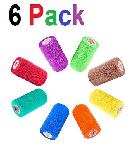 4 Inch Vet Wrap Tape Bulk (Assorted Colors) (Pack of 6) Self Adhesive Adherent Adhering Flex Bandage Rap Grip Roll for Dog Cat Pet Horse