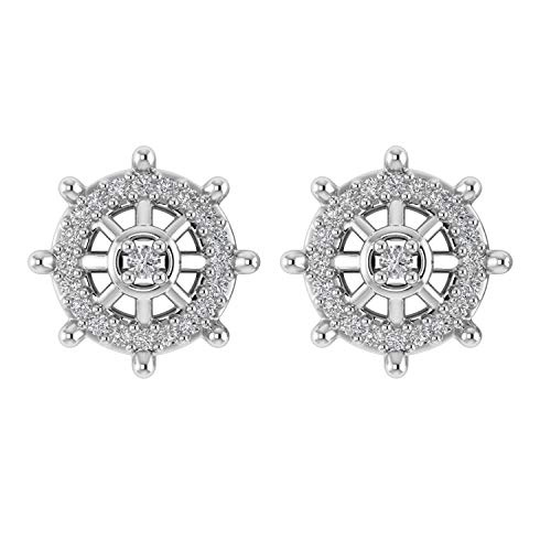 - 0.18 Ct Genuine Diamond Ships Wheel Charm Stud Earrings in 925 Sterling Silver Unique Gifts For Women (G-H/I1-I2) (white-gold-plated-silver)