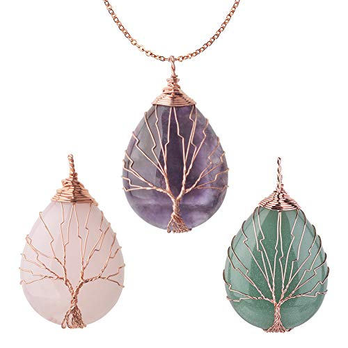 - OCARLY Gemstone Drop Tree of Life Pendant Healing Crystal Chakra Necklace Copper Wire Wrapped Jewelry